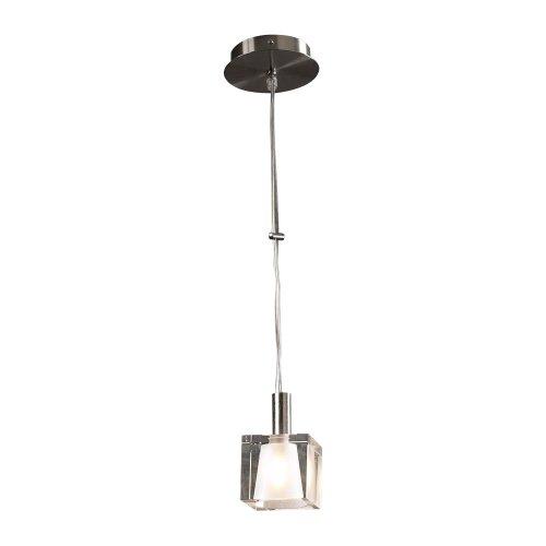 PLC Lighting 7201 SN 1 Light Ice-I Collection Mini Pendant, Satin Nickel Finish