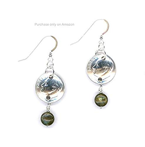 (60th Birthday 1959 Dimes with Labradorite Beads and Silver Links Earrings 60th Anniversary Gift Coin)