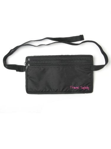 Miamica Waist Security Pouch & Money Belt travel Safely, Black, One Size
