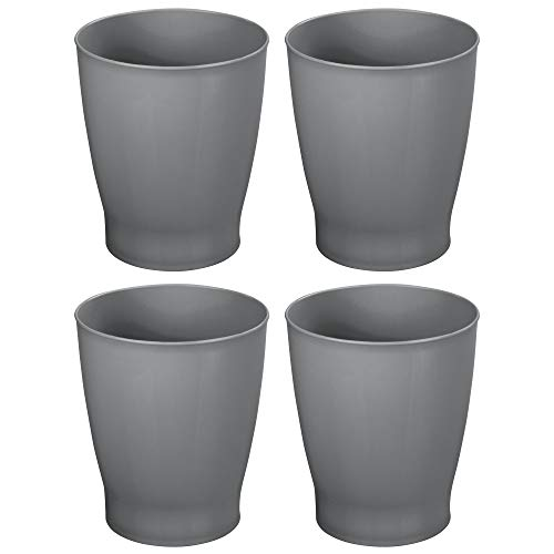 mDesign Slim Round Plastic Small Trash Can Wastebasket, Garbage Container Bin for Bathrooms, Powder Rooms, Kitchens, Home Offices, Kids Rooms - 4 Pack - Slate Gray