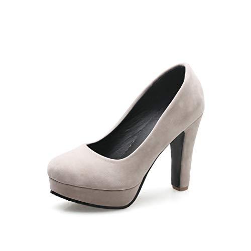 GanQuan2018 Women Round Toe Platform Pumps, 4.1 Inch Square High Heels Casual Shoe for Ladies Beige