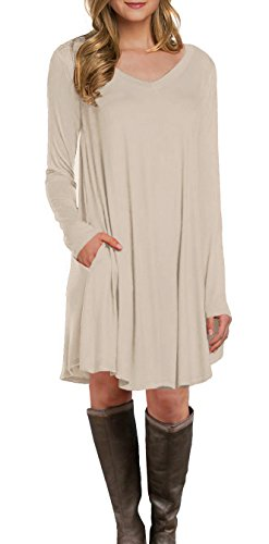 LILBETTER Women's Long Sleeve Casual Loose Pocket Tunic Dress (Beige S) from LILBETTER