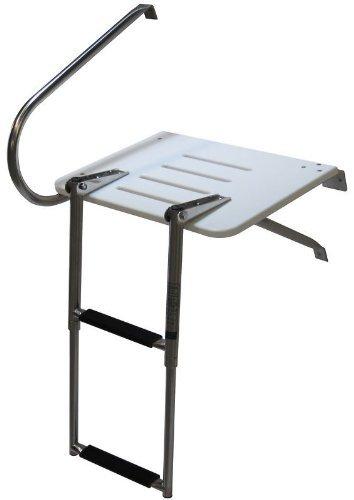- Amarine-made Boat Out-Board Swim High Strength Polyethylene Platform with 2-Steps Ladder