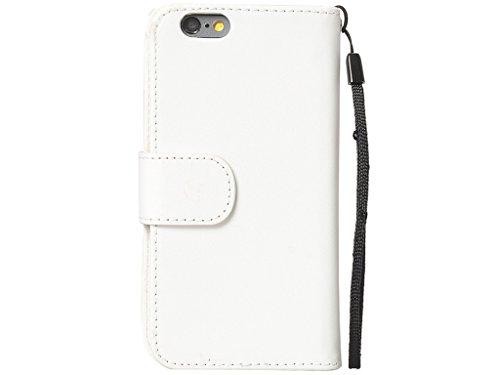 IPhone d'Apple 6s plus 6 Plus Wallet Case, Fone-Stuff® - cuir véritable de luxe, 6 Porte-cartes et notez Pocket en blanc (Comprend protecteur d'écran)