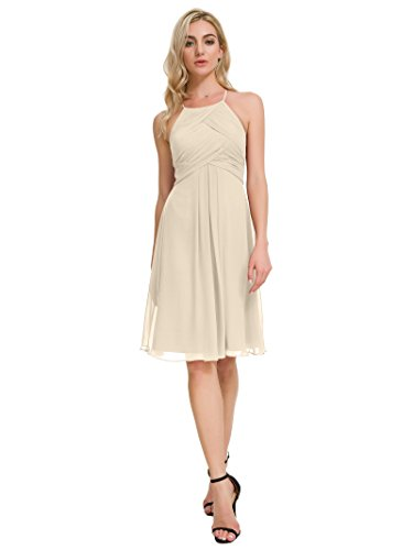 (Alicepub Short Chiffon Bridesmaid Dress Halter Cocktail Party Evening Gown Sleeveless, Champagne,)