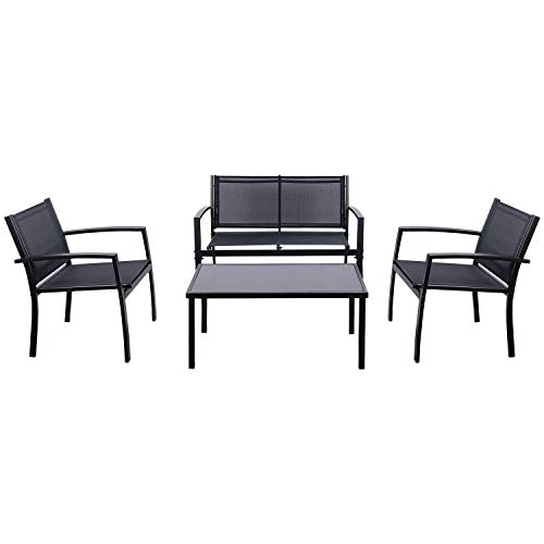 (Flamaker 4 Pieces Patio Furniture Outdoor furniture Outdoor Patio Furniture Set Textilene Bistro Set Modern Conversation Set Black Bistro Set with Loveseat Tea Table for Home, Lawn and Balcony)