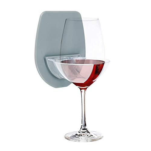 GIGRIN Sipski Wine Glass Cupholder for Shower & Bath Relax, Easy to Use, for Friend, Mom, Dad (Grey)