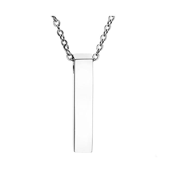 JOVIVI Free Engraving - Personalized Custom Stainless Steel Cube Bar Urn Memorial Pendant Necklace Memorial Ash Keepsake Cremation Jewelry Filler Kit