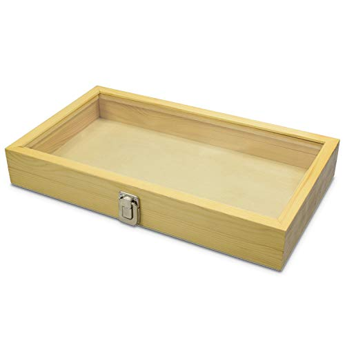 Mooca Natural Wood Glass Top Jewelry Display Case Accessories Storage Box with Metal Clasp, Wooden Jewelry Tray for Collectibles, Home Organization, Natural Wood Color