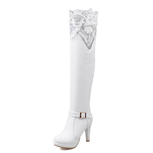 JIAME Ladies Womens Sexy Bud Silk Lace Over The Knee Thigh High Platform Heel Stretch Boots (9 B(M) US, White)