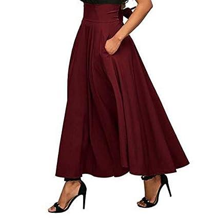 Zehui Falda Acampanada Plisada Maxi de la Cintura Alta, Falda de Moda de Las Mujeres