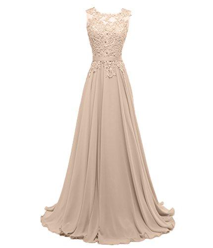 Brautjungfernkleider A Damen Festlichkleider Chiffon Charmant Promkleider Spitze Partykleider Abendkleider linie Champagner 0xqwdzdC