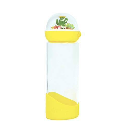 Travel Tumbler 15 Ounce - Bewaltz Personalized Cactus Water Bottle with beautifully made 3D miniature globe lid, Double wall 15 oz, Travel Mug, Drink Cup, Shake Tumbler, Insulated Tumbler, BPA Free, Birthday Gifts, Yellow