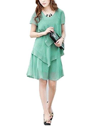 RENXINGLIN Women Chiffon Dresses Party Short Sleeve Casual Vestido De Festa Blue Black Robe Femme Green Dress XXXL -