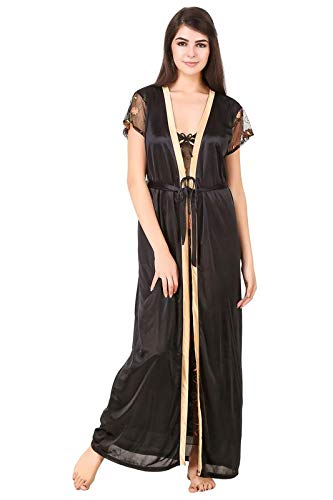 Buy A Forean Satin Night Gown Slip With Robe 2 Piece Night Dress Long Maxi Babydoll Net Cup Lace Ribbon Designed Transparent Full Length Honeymoon Lingerie Nighty For Girls Women Free,Simple Elegant Wedding Dresses 2020