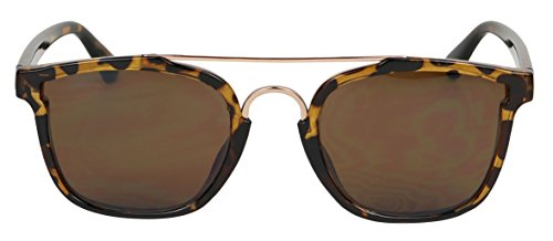 Basik Eyewear - Modern Square Shape Flat Top Double Metal Brow Bar Sunglasses (Tortoise w/ Brown Lens, - Sunglasses Bar Brow
