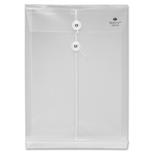 Sparco String & Button Poly Hide Envelope - Legal - 8.50 Width x 14 Length Sheet Size - 1 Expansion - Polypropylene - Clear - 1 Each by Sparco - Button Poly Hide Envelope