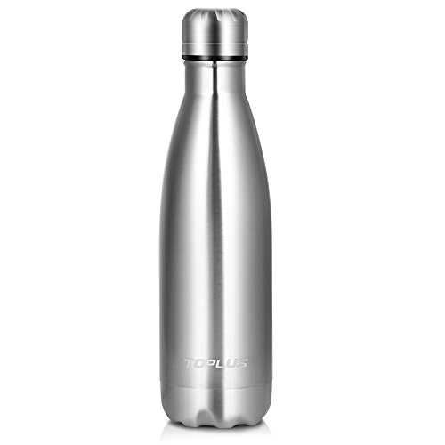 Toplus Vacuum Insulated Water Bottle Double Wall Stainless Steel Thermos, 17 Oz (500 ml), Silver