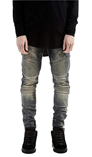 Biker 31 11 Hombre Denim Color Hole Closure Moda Ripped Estilos Fit Size Twill Denim RT Skinny Nn Recto Blau 9991 Jeans Pantalones zx1Zw
