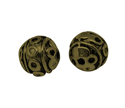 PH PandaHall About 100 Pieces Tibetan Style Round Beads Alloy Spacer Bead Diameter 8mm for Jewelry Making Antique - Bronze Tibetan