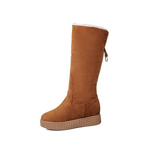 AllhqFashion Mujeres Gamuza(Imitado) Caña Alta Sólido Sin cordones Mini Tacón Bota de Nieve Amarillo