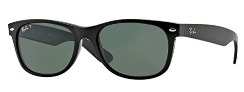 Ray Ban New Wayfarer Plastic Sunglasses - Ray-Ban RB2132 (901/58) Black/Crystal Green Polarized 55mm Sunglasses Bundle with original case, cloth, booklet and accessories (6 items)
