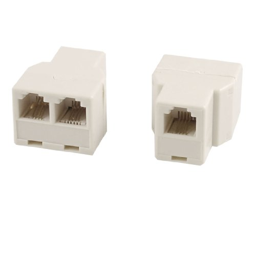 Uxcell RJ11 6P4C 1 to 2 Female Telephone line Splitter Connector, 2Pieces for Landline Telephone