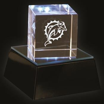 Miami Dolphins Square Logo Cube With Lighted Base