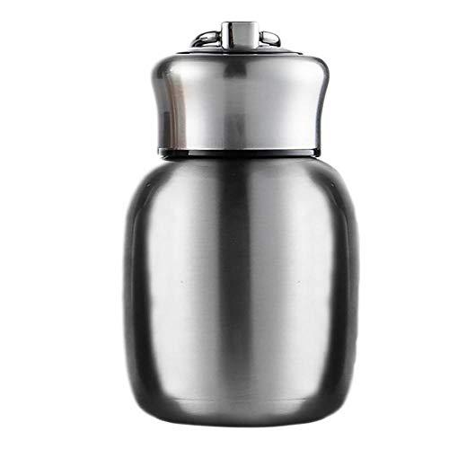 Linda botella termica de acero inoxidable pequena botella de agua de cafe taza de viaje, a prueba de fugas, doble pared al vacio, botella de agua caliente y fria, 200 ml, silver