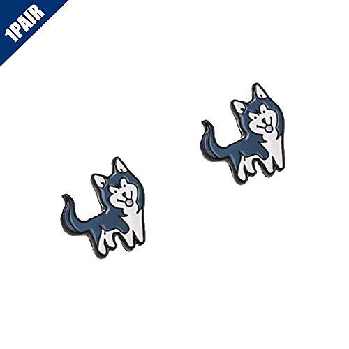 Comidox 1Pair Cute Pet Puppy Dog Teddy Siberian Husky Corgi Pomeranian Beagle Hound Earrings Ear Stud Earrings for Women Girls