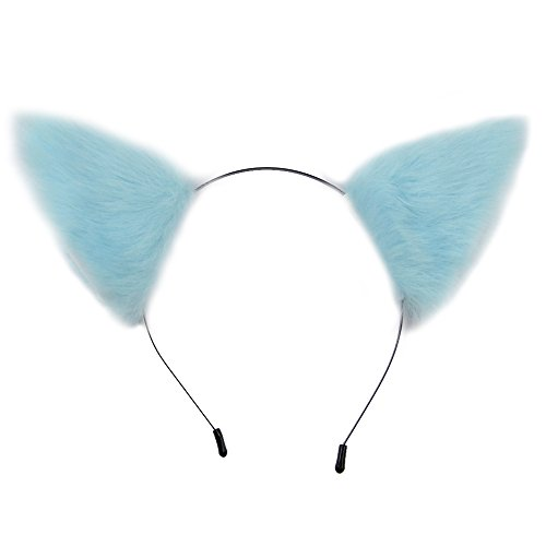 E-TING Cat Fox Fur Ears Headband Anime Party Costume ( Light Baby Blue with White inside ) (Blue Cat Costume)