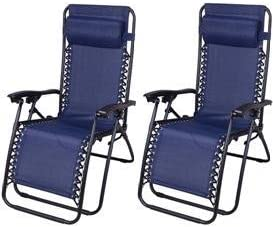 Outsunny Zero Gravity Recliner Lounge Chair Blue - Pack of 2