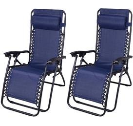 Cheap Outsunny Zero Gravity Recliner Lounge Patio Pool Chair – 2 PACK – Blue
