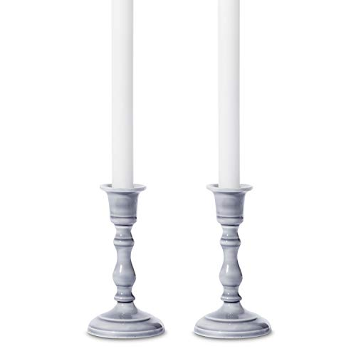 (Rustic Taper Candlestick Holder - Set of 2, Grey Enamel Candleholders with Distressed Finish, 5.5 Inch Height, Fits Standard Size Tapered Candles, Vintage, Classic and Farmhouse Decor )