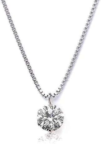 PLUSTER Women's Necklace, Diamond Dainty 0.15 ct PLUSTER Single Grain PT900 Platinum Chain 17.7 inches (45 cm) [Gift Box Set]
