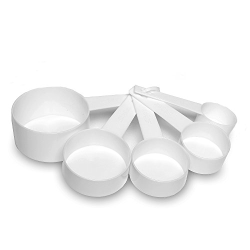White Cup Measuring - Measuring Cups 5 Pieces Set Hard Plastic White by Topenca Supplies