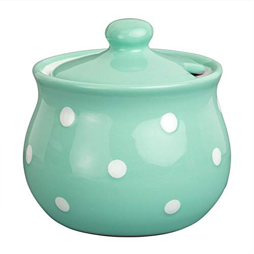 Handmade Teal Blue and White Polka Dot Ceramic Sugar Bowl, Pot With Lid | Pottery Honey Jar, Jam Jar | Housewarming Gift by City to Cottage