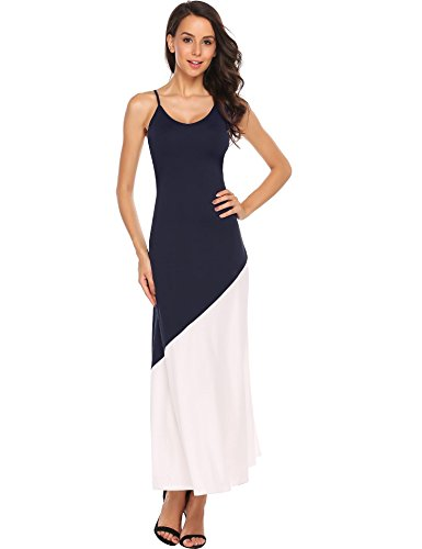 Maxi Casual ANGVNS V Blue Spaghetti Fit Neck Backless Womens Strap Navy Illusion Slim Dress BqBwvza