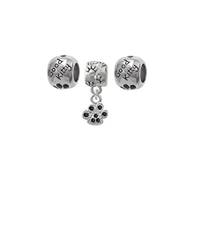 Mini Black Crystal Paw Paw Print Charm Bead with Good Kitty Beads (Set of 3)