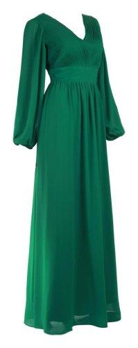 Grün Festkleider Emerald Dress Frauen Damen Kleider Cocktailkleider Green Chiffonkleider Langärmlige Bodenlang Plissee Evening My Festkleider Abendkleider Oqgx86HR