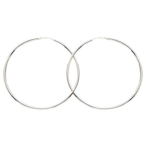 So Chic Bijoux © Boucles d'oreilles Femme Créoles Diamètre 45 mm Fil Rond 1,6 mm Or Blanc 750/000 (18 carats)