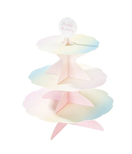 Talking Tables We Heart Pastels, 3 Tier Reversible Cake Stand, Paper, H37.5 x W30cm (complete with 4 different toppers)