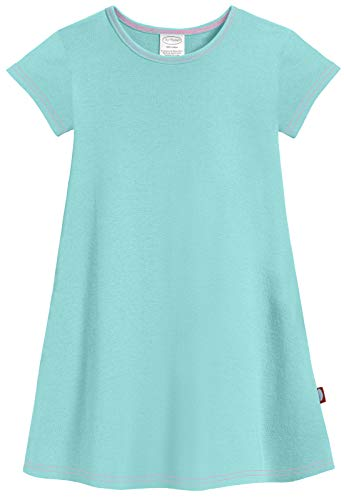 City Threads Big Girls' Cotton Short Sleeve Cover Up Dress for Sensitive Skin SPD Sensory Friendly, Wave, 7 ()