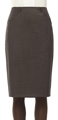 HEATHER STRETCH WOOL HIGH-WAISTED PENCIL SKIRT HEATHER BROWN, - Stretch Wool Skirt Womens Long