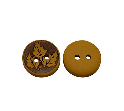 Maple Leaf Button (Yongshida 13mm Diameter Maple Leaf Pattern Round Shape 2 Holes Scrapbooking Sewing Toggle Wood Buttons Pack of 30)