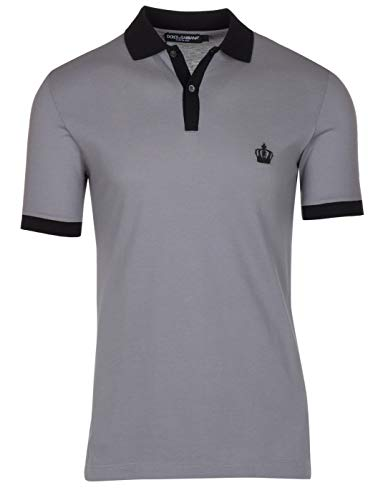 Dolce & Gabbana Men's Gray Crown 'Corona' Short Sleeve Contrast Polo Shirt, Gray, EU 48 / US S - Dolce & Gabbana Mens Clothing