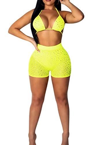 Women's Two Piece Club Outfits Set Short Tracksuit Sexy Bra and High Waist Sparkle Pants Suit Summer Yellow XL ()