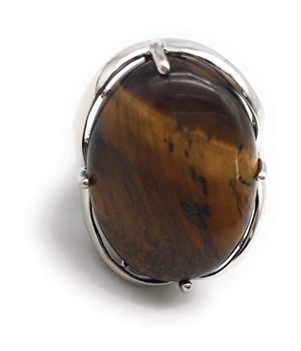 - Natural Stone Rose Quartz Agate Amethyst Turquoise Adjustable Finger Rings Semi Precious Oval Shaped Gemstone Anniversary (Tiger Eye)