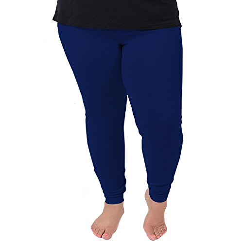 Stretch is Comfort Women's Cotton Plus Size Leggings Navy Blue 2XL ()