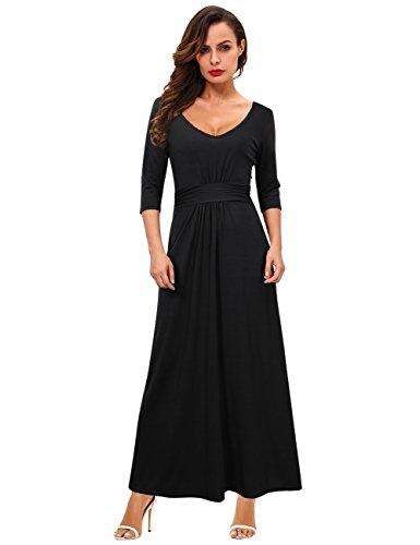 GloryStar Women's Sexy Double V Neck 3/4 Sleeve Empire Waist Casual Long Maxi Party Dress Black L